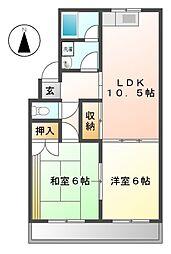ラブリーハウス1番館[1階]の間取り