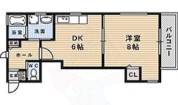 メイプルコート上渋谷 A棟 1階1DKの間取り