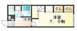 高松琴平電気鉄道志度線 潟元駅 徒歩6分の賃貸アパート 2階1Kの間取り