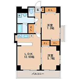 仙台市地下鉄東西線 連坊駅 徒歩8分の賃貸マンション 3階2LDKの間取り