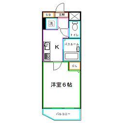 JR中央本線 国分寺駅 徒歩5分の賃貸マンション 4階1Kの間取り