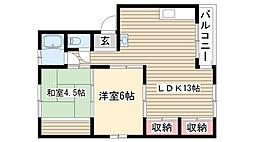 愛知県名古屋市守山区大森2丁目の賃貸マンションの間取り