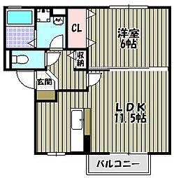 サニーコート津久野[2階]の間取り