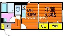 D-room Luxury 2nd 2階1DKの間取り