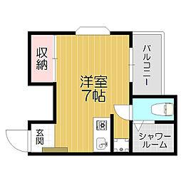 Osaka Metro谷町線 守口駅 徒歩6分の賃貸マンション 2階ワンルームの間取り