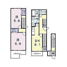 JR東海道本線 鴨宮駅 徒歩18分の賃貸アパート 2階2DKの間取り
