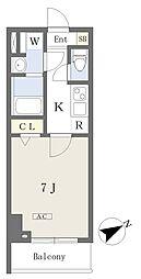 プライムコート本八幡 3階1Kの間取り