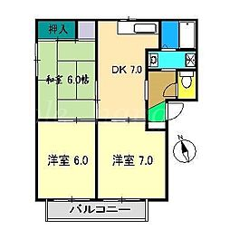 ドリームハイツ B棟[1階]の間取り