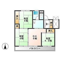 ビレッジハウス南中津川 1号棟[2階]の間取り