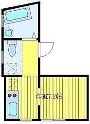 ときわ台のアパートメント 地下1階ワンルームの間取り