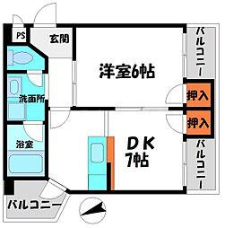 コーポのぐちI 7階1DKの間取り