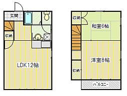 長野県飯田市鼎上山の賃貸アパートの間取り