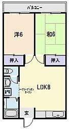 JR紀勢本線 相可駅 徒歩7分の賃貸アパート 2階2LDKの間取り