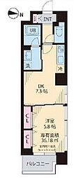 Yun Park Kiba(ユンパークキバ) 6階1DKの間取り