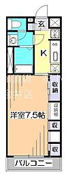 西武拝島線 東大和市駅 徒歩7分の賃貸アパート 3階1Kの間取り