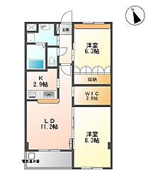 フレアマンションII[202号室]の間取り
