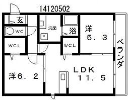 サニーコートバディ[2階]の間取り