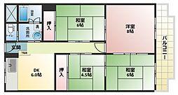 大阪府大阪市平野区平野宮町1丁目の賃貸マンションの間取り