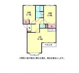 愛知県一宮市丹陽町重吉字城戸の賃貸アパートの間取り