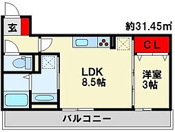 Polonia Matsubara B棟 2階1LDKの間取り