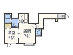 MKガーデン北39 2階1LDKの間取り