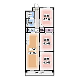 アパートメント朴の樹[505号室]の間取り