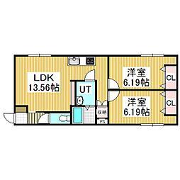 仮)MIYAMAE-AP02[203号室]の間取り