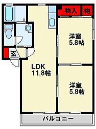 三洋タウン永犬丸 C棟[1階]の間取り