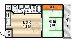 Osaka Metro今里筋線 鴫野駅 徒歩10分の賃貸マンション 3階1LDKの間取り