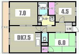 東京都八王子市横川町の賃貸マンションの間取り