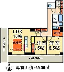 JR常磐線 南千住駅 徒歩5分の賃貸マンション 6階2LDKの間取り