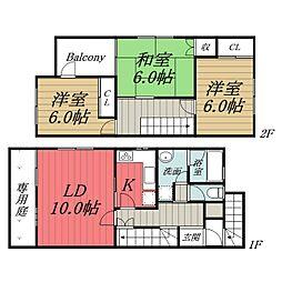 JR総武線 稲毛駅 徒歩20分の賃貸タウンハウス 1階3LDKの間取り