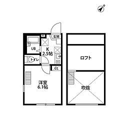 Kano c'est moi横浜II[201号室]の間取り