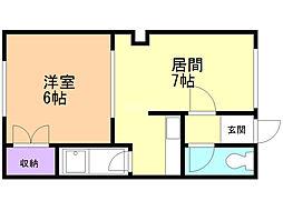 西富誠幸マンション 2階1DKの間取り
