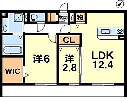 滋賀県草津市青地町の賃貸アパートの間取り