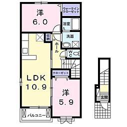 波志江町アパート[0201号室]の間取り