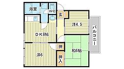 兵庫県姫路市田寺5丁目の賃貸アパートの間取り