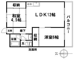 愛知県名古屋市昭和区御器所4丁目の賃貸マンションの間取り