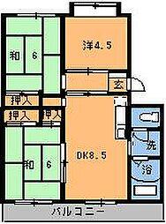 第3本橋フラワーマンション[301号室]の間取り
