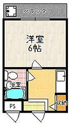 第20長栄イスズベル京都伏見[405号室]の間取り