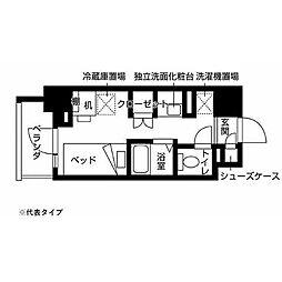 京王相模原線 京王多摩センター駅 徒歩10分の賃貸マンション 2階ワンルームの間取り