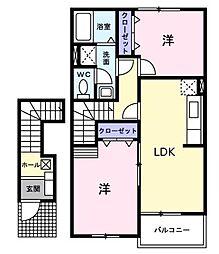 広島県府中市父石町の賃貸アパートの間取り