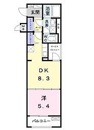 JR中央線 八王子駅 バス19分 宇津木下車 徒歩8分の賃貸マンション 2階1DKの間取り