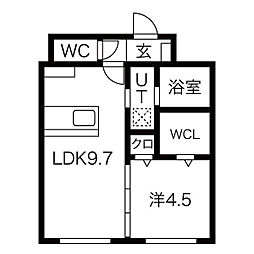 札幌市営東西線 発寒南駅 徒歩5分の賃貸マンション 2階1LDKの間取り