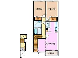 三重県四日市市西富田2丁目の賃貸アパートの間取り