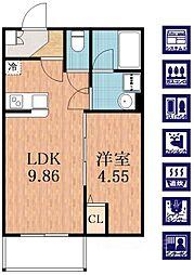 プレジール林寺[3階]の間取り