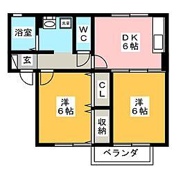 愛知県豊川市市田町中新屋の賃貸アパートの間取り