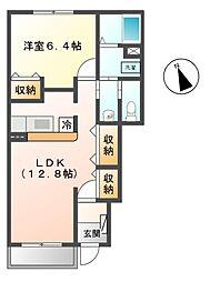 長野県上田市蒼久保の賃貸アパートの間取り