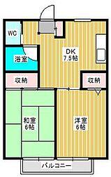 千葉県松戸市新松戸北1丁目の賃貸アパートの間取り