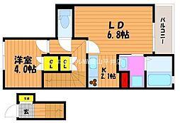 岡山県岡山市南区新福1の賃貸アパートの間取り